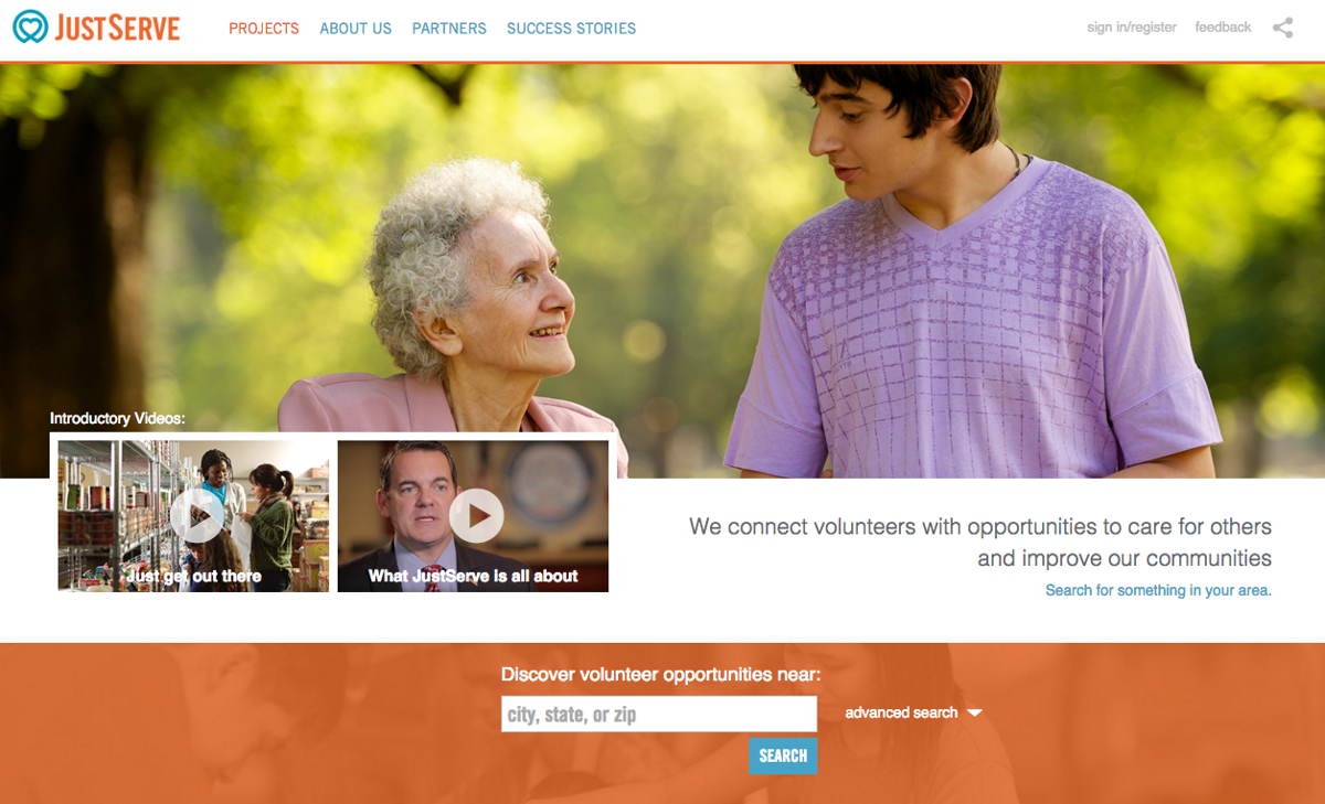 JustServe.org homepage
