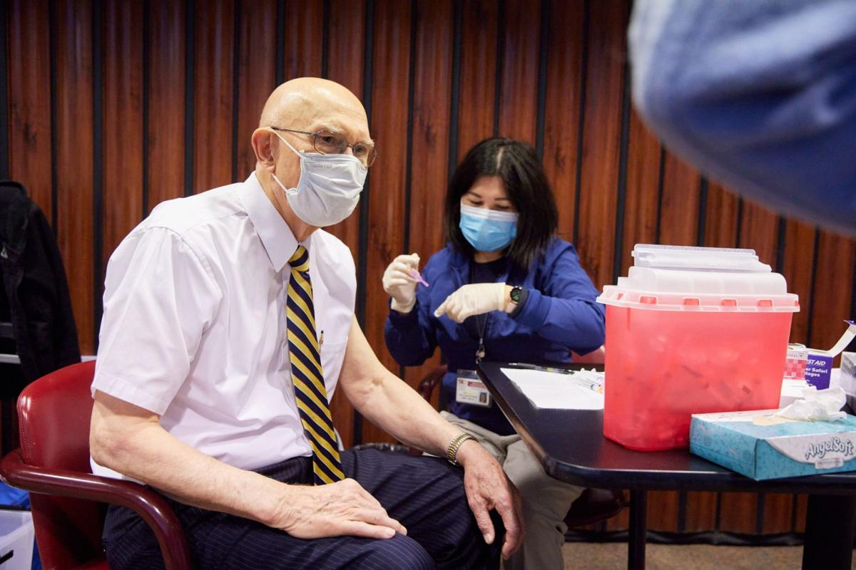 President Dallin H. Oaks of the First Presidency receives the first dose of a COVID-19 vaccine on Tuesday, January 19, 2021, in Salt Lake City.