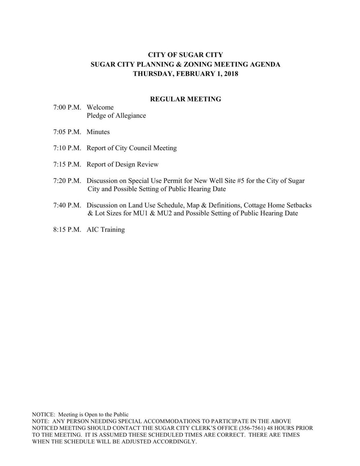 Sugar Planning and Zoning meeting, Feb. 1, 2018