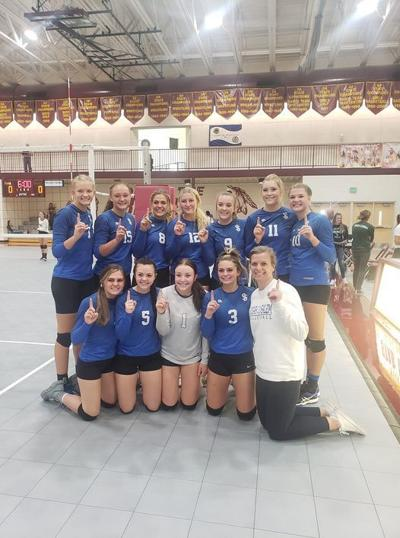 Sugar-Salem's volleyball team poses for a photo after winning the Star Valley tournament Saturday.