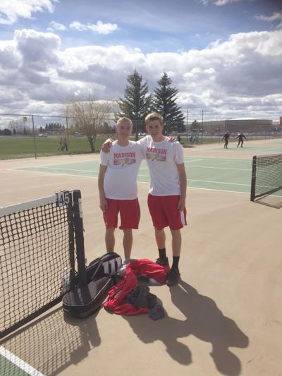 Madison's number two boys doubles team, Brian Barton and Travis Barton pose for a photo after the team's match.