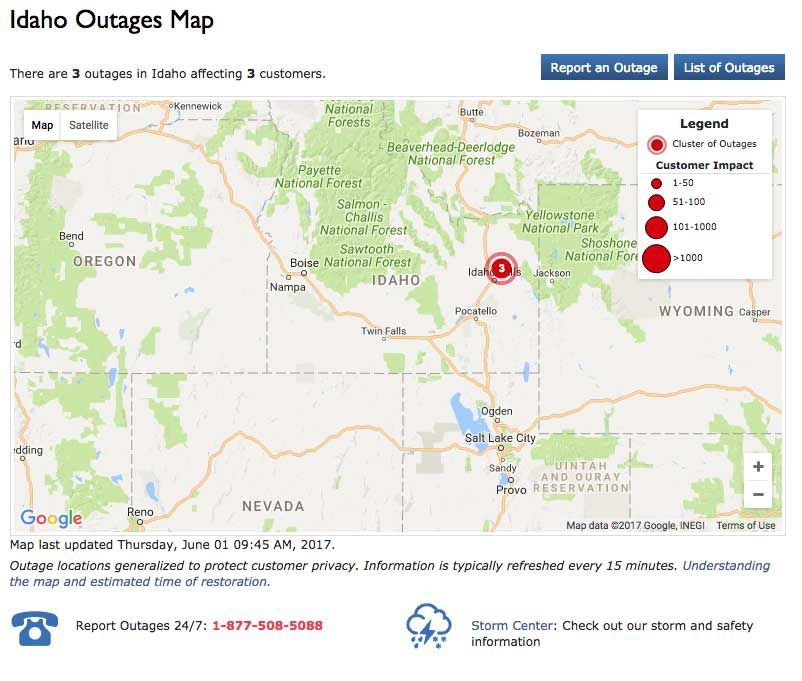 Rocky Mountain Power's new online outage map shows where power is