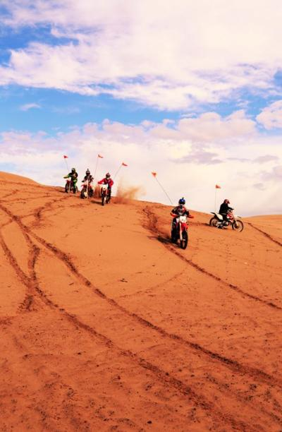Motorcyclist breaks collarbone at Sand Dunes on Saturday