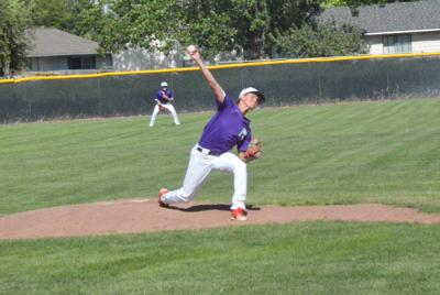 Madison's Jaden Schwab throws a pitch against South Fremont at Madison High School.