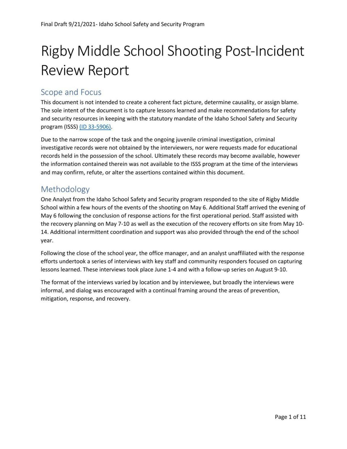 Rigby Middle School Shooting Post-Incident Review Report