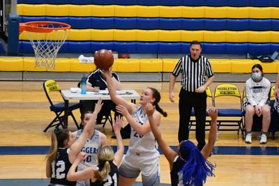 Sugar-Salem's Natalyah Nead lays one in over the defense.