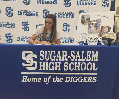 Sugar-Salem's Camber Dodson signs her letter of intent to play at USU Eastern Tuesday morning.