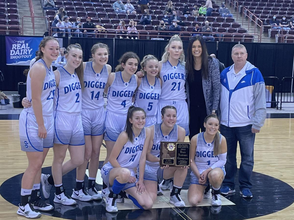 Sugar-Salem's girls basketball team poses with their second-place trophy.