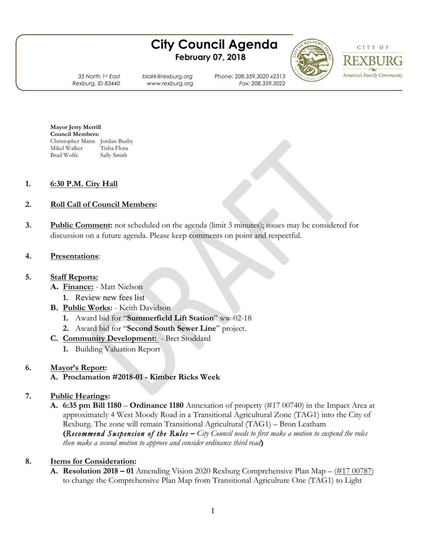 Rexburg City Council meeting agenda, Feb. 7, 2018