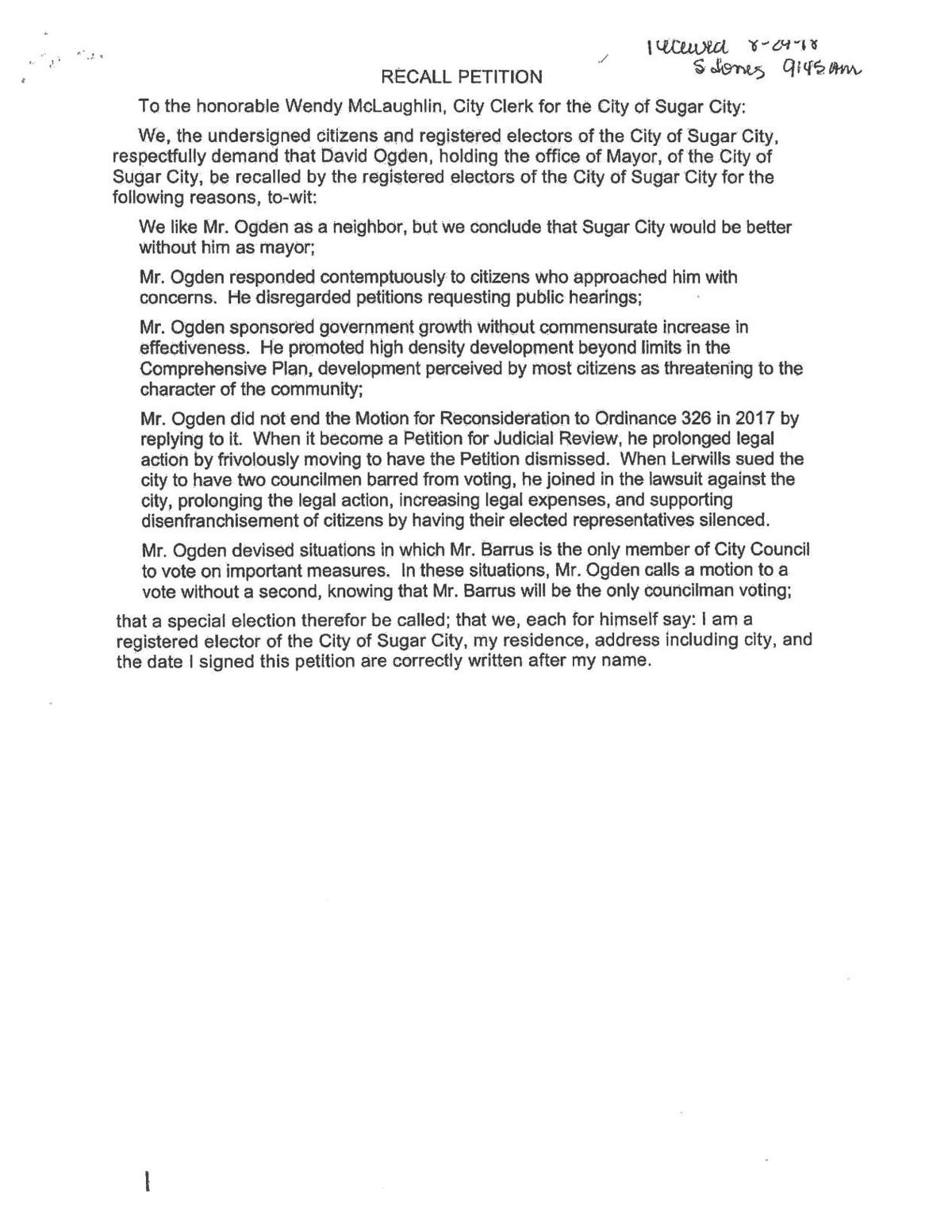 Recall Petition Mayor Ogden 1