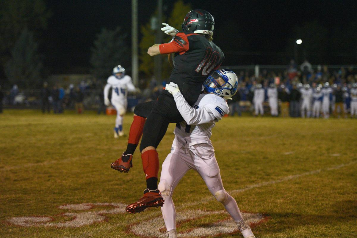 South Fremont's Cooper Hurd goes up to reel in a big catch.