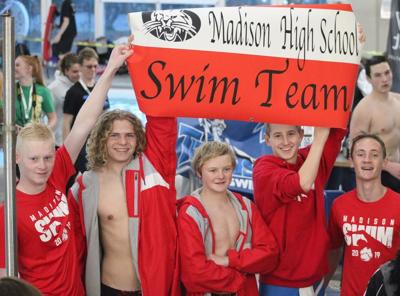 Madison Swim Team at the Celebration of Athletes (Brian Walsh, Andrew Higgins, Grayson Johnson, Matthew Eyring, Alex Wray)