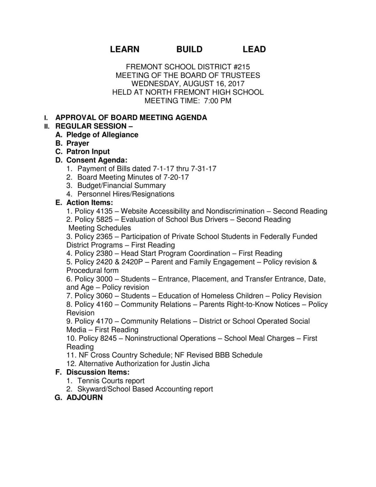 Fremont Joint School District 215 board meeting agenda Aug 16 – Board Meeting Agenda