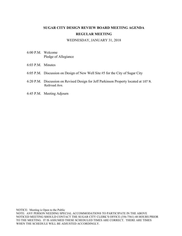 Sugar City Design Review Board meeting agenda, Jan. 31, 2018