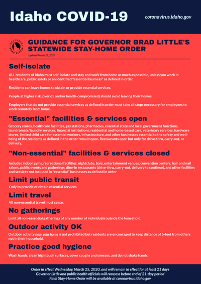 Gov. Little stay-at-home order poster