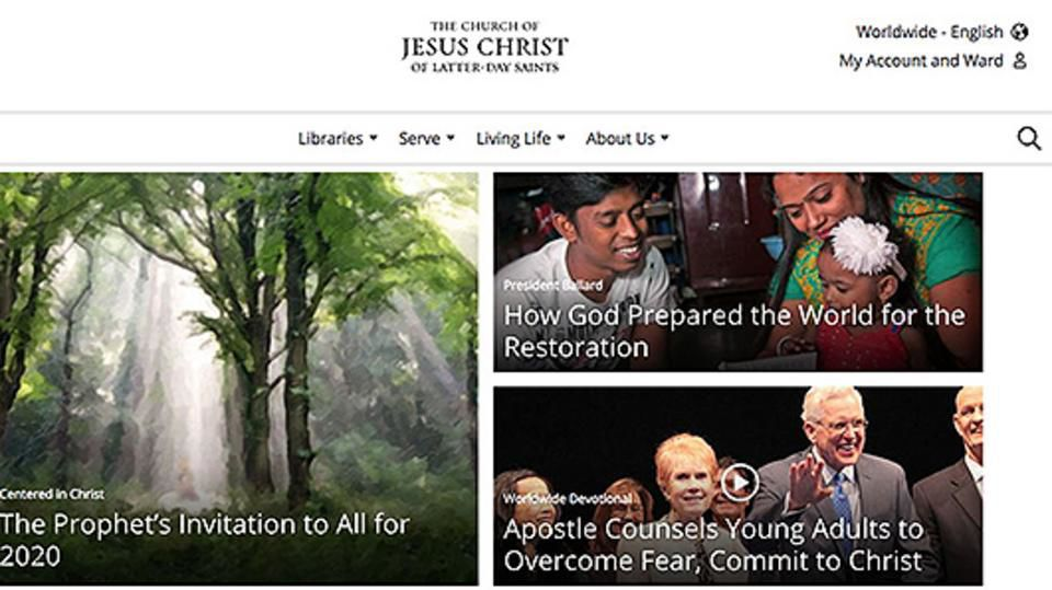 A screenshot of the new navigation that will be launching on ChurchofJesusChrist.org in the coming weeks shows four main menu options: Libraries, Serve, Living Life, and About Us.