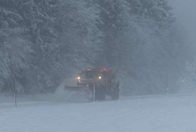 Winter storm snowstorm snow hitting East Idaho stock image file photo