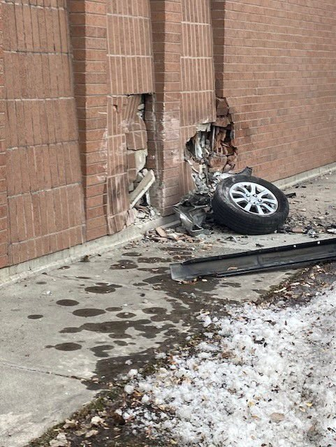 Car crash sends one to EIRMC, damages Madison District Library Sunday