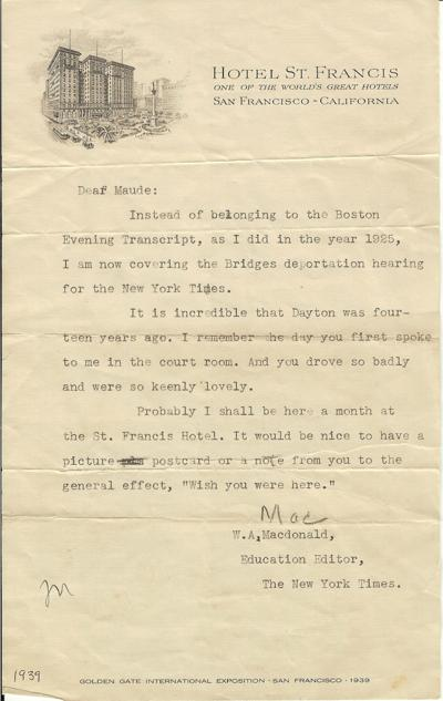"""1939 Letter to Maude Thomison from W.A. """"Mac"""" McDonald"""