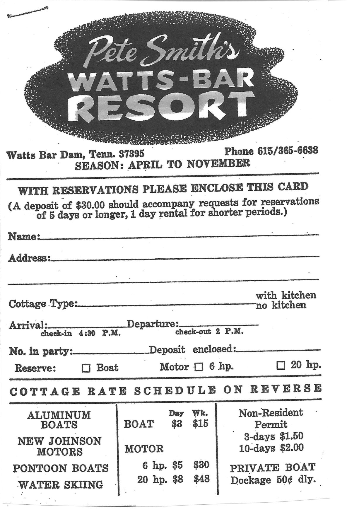 Reservation card for Watts Bar cottages circa 1969