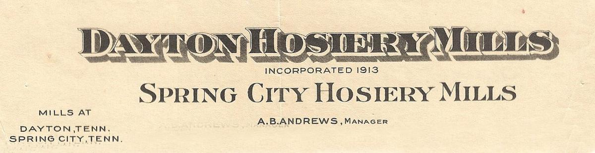Dayton/Spring City Hosiery Mills Letterhead