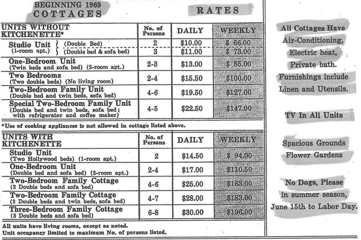 Rates for Watts Bar cottages circa 1969
