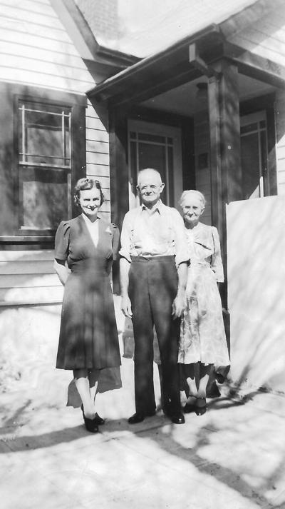 Hazel Allen on left with parents, John and Versa Ault Allen