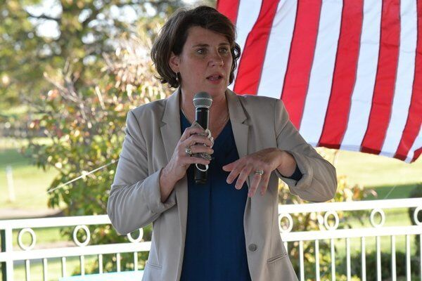 Amy McGrath campaigns in Richmond at Lake Reba