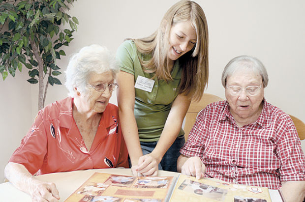 Teens helping at a retirement home