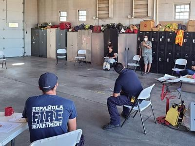 Maestas speaks to firefighters