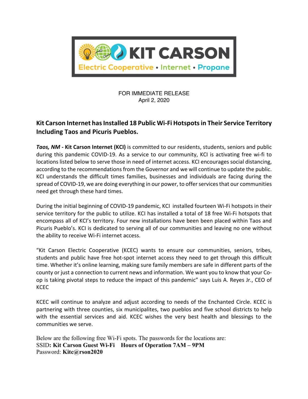 Kit Carson Free WiFi Coronavirus