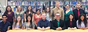 <p>Members of the 2018-2019 Rockport-Fulton High School (RFHS) Student Council are, back row, from left, Junior Vice President Courtney Saengvanpheng, Junior Representative Molly Frost, Soph. Representative LauraLee Dafft, Soph. Vice President Cierra Rodriguez, Soph. President Abbie Randall, Senior Representative Max Marton, Student Council Sponsor Sameera De Leon, and Senior Representative Mitchell Anderson; front row, from left, Junior President Jason Zargoza, Student Council Body Treasurer Carolyn Goodwin, Student Council Body Public Relations Rebecca Garcia, Student Council Body President McCauley Duck, RFHS Principal Scott Rogers, Student Council Body Vice President Allison Michael, and Senior Vice President Renee McKenzie.</p>