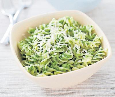 For a variation on pasta with pesto sauce, use kale instead