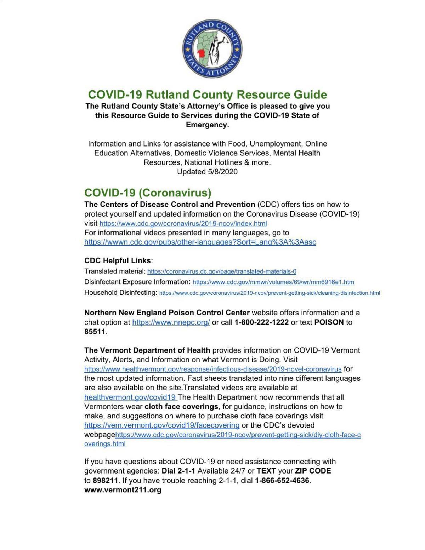 COVID-19 Rutland County Resource Guide