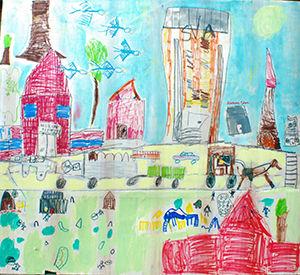 Children's group art project from Donna Ciobanu's art camp.