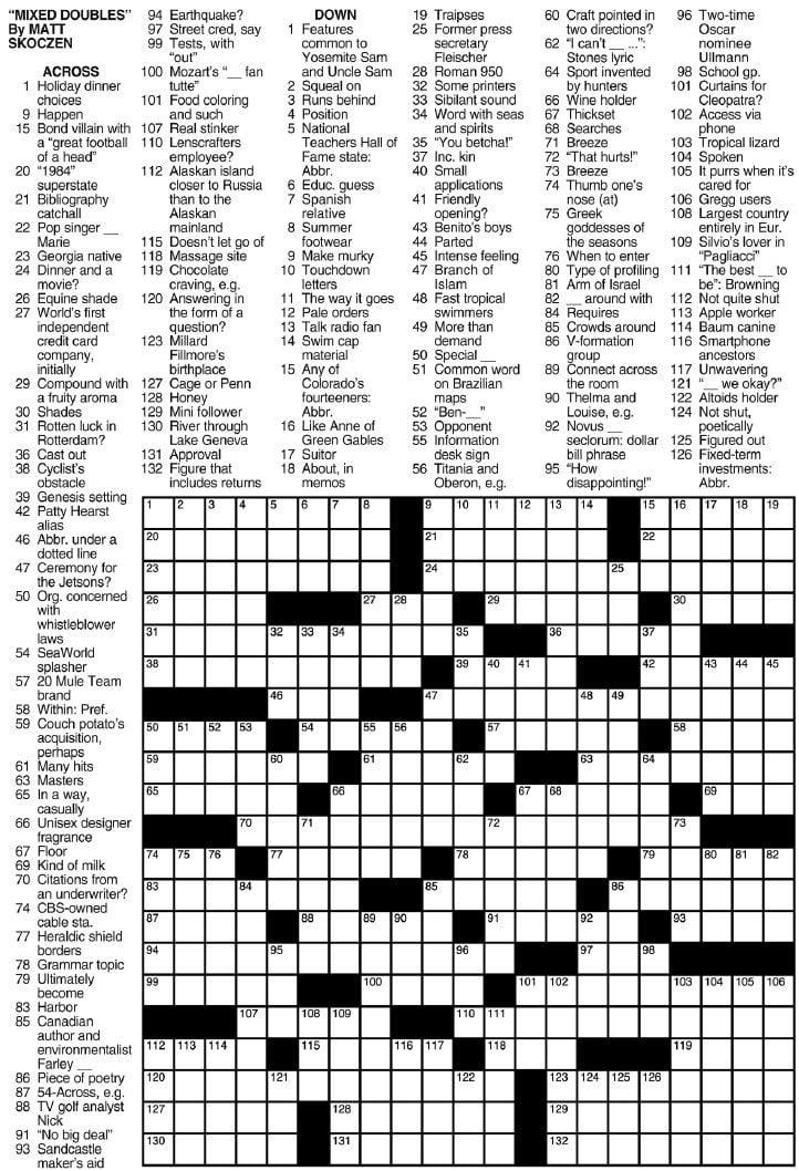 image regarding La Times Crossword Printable identify Los Angeles Instances Sunday Crossword Puzzle Puzzles