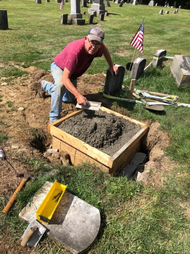 Locals work together to save Leon's Treat Cemetery headstone