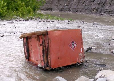 'Runaway' fuel tank found in creek 8 miles downstream