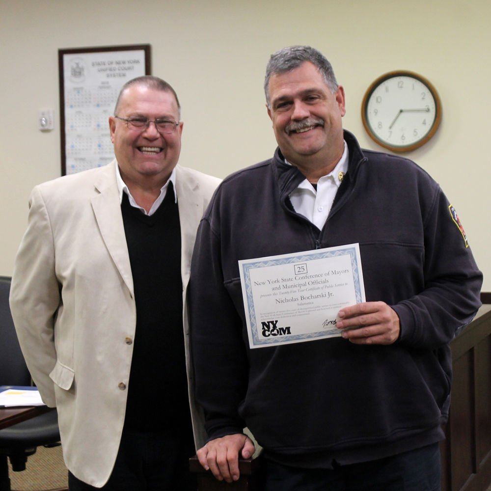 Riehle, Bocharski recognized for 55 years combined service to city Nick