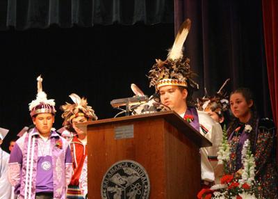 Native students graduation regalia