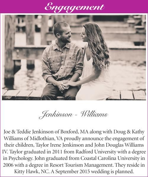 Jenkinson - Williams engagement