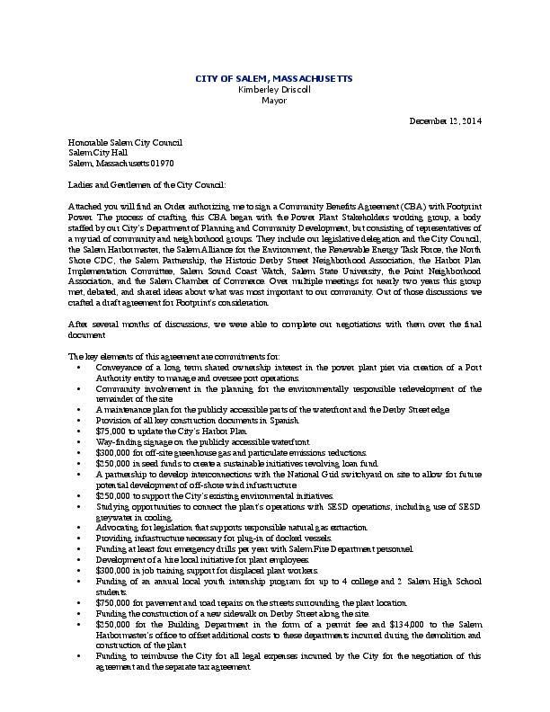 Community Benefits Agreement Cover Letter Salemnews