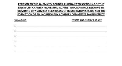 Sanctuary city foes launch petition drive