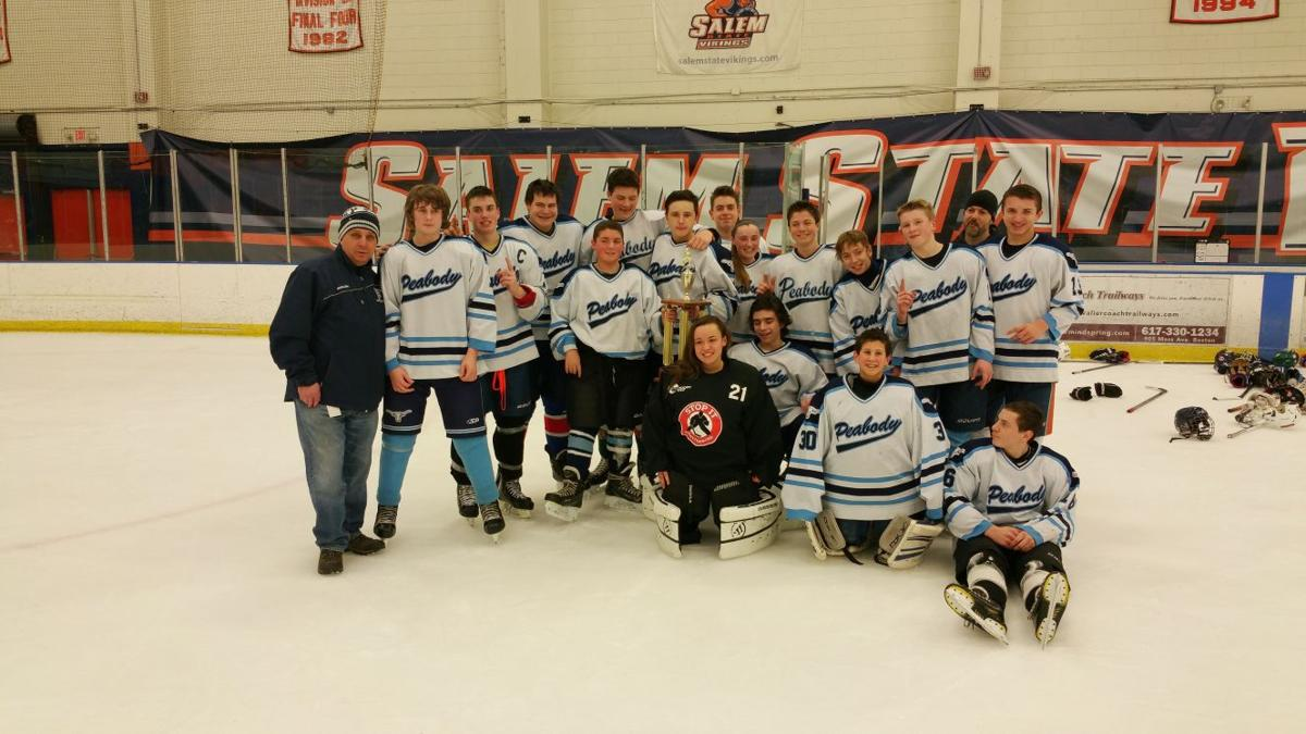 the peabody middle hockey team defeated marblehead to win