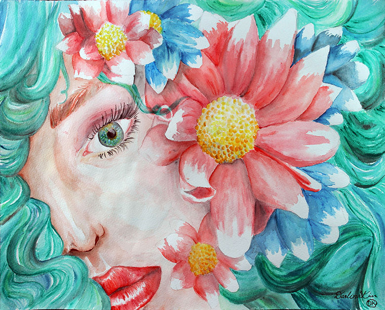 """Darlina Kim's watercolor painting titled """"A Vibrant Moment."""""""