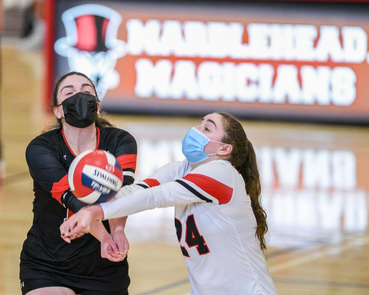 Peabody at Marblehead girls varsity volleyball match