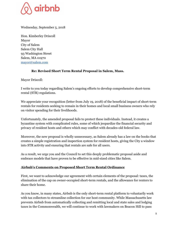 Airbnb Response To Salem Ordinance Salemnews