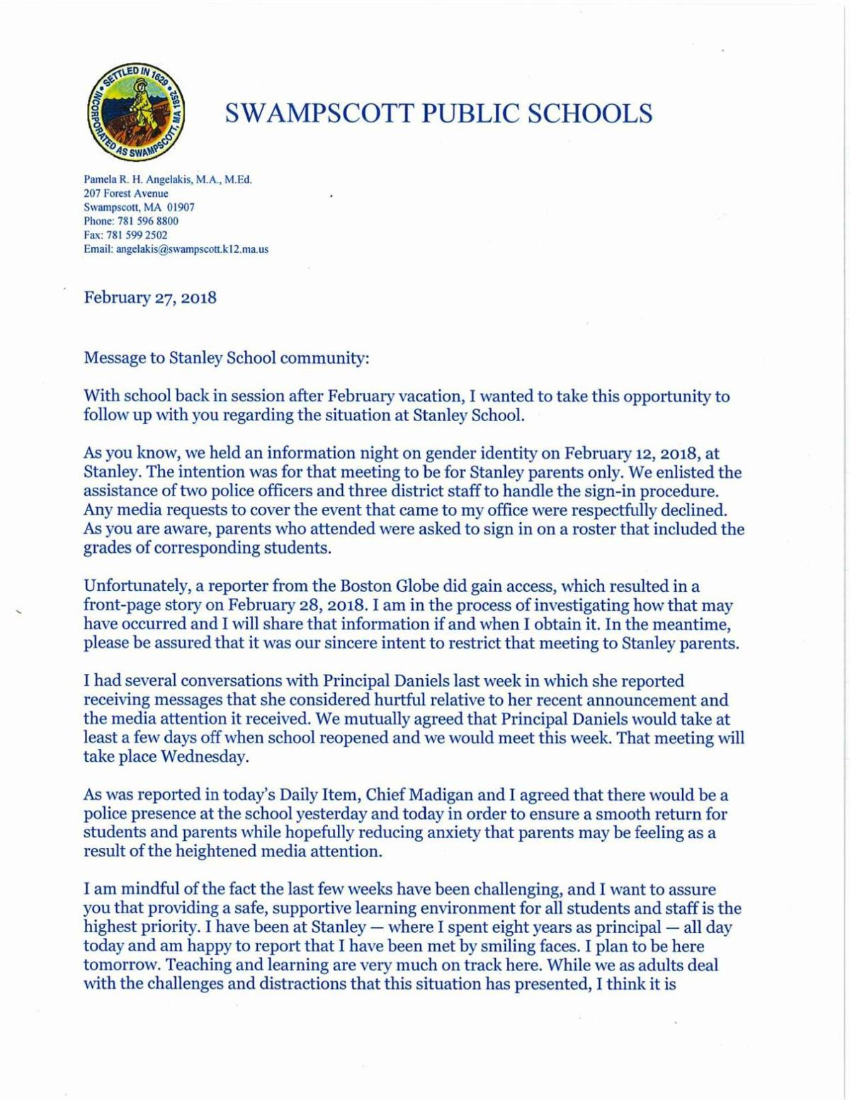 Letter from Swampscott principal to Stanley parents