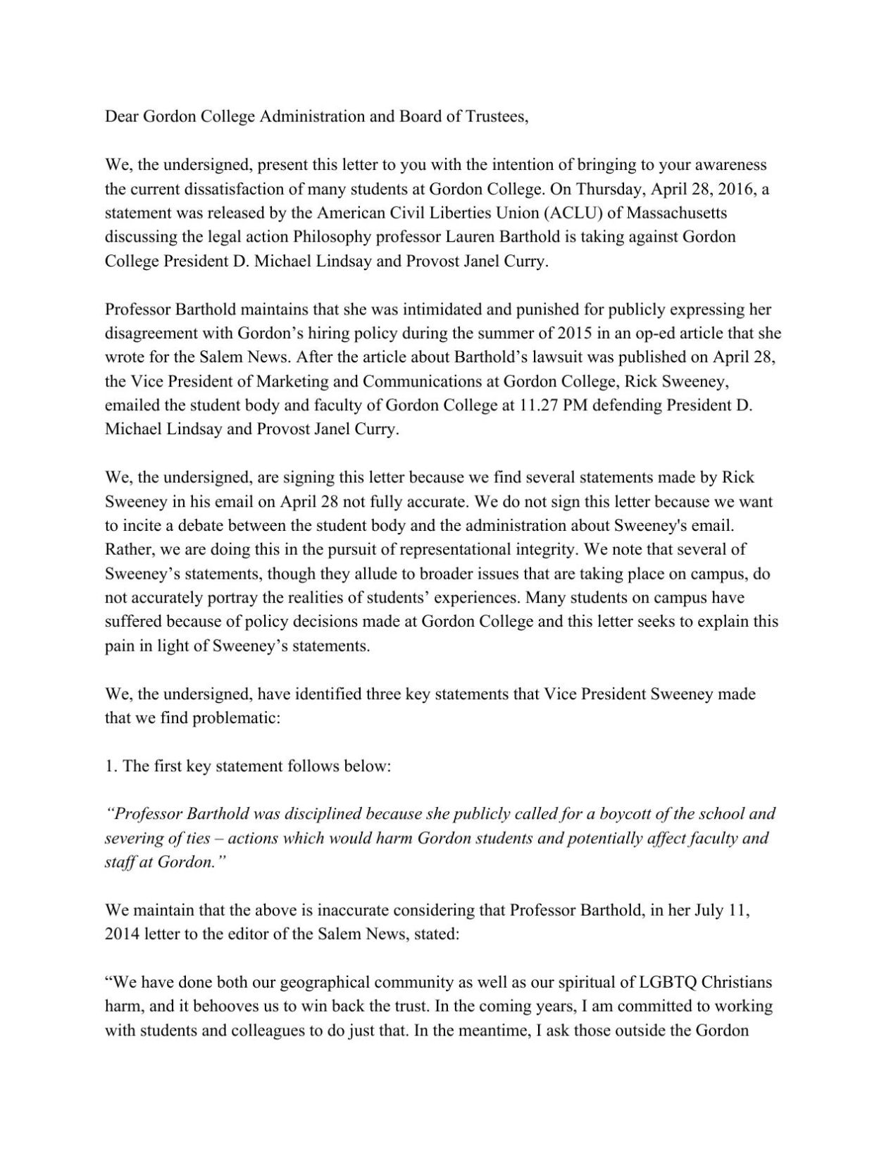 Download PDF Gordon College Student Letter To Administration