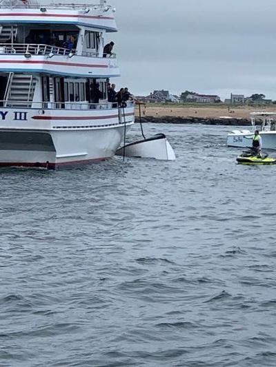 5 rescued after boat collision, capsizing